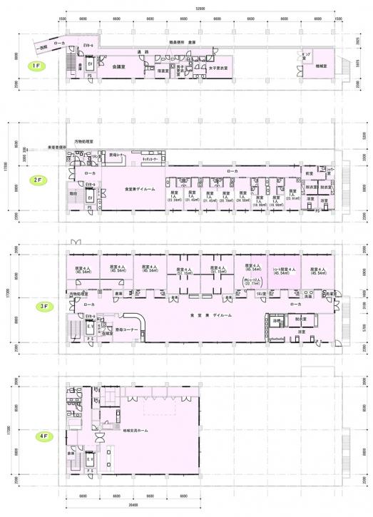 東館 平面図1F-4F